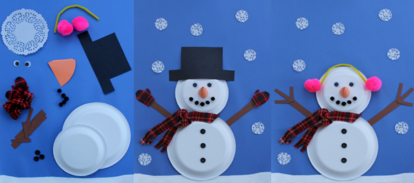 Snowman with paper plates