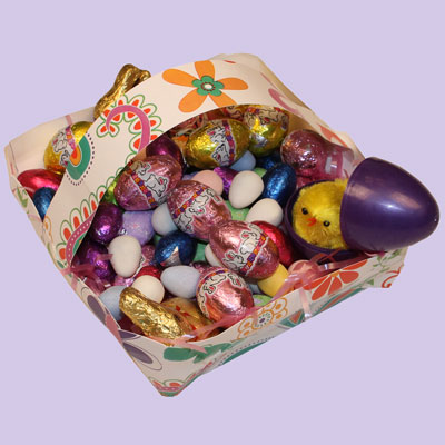 Easter basket made from a square plate