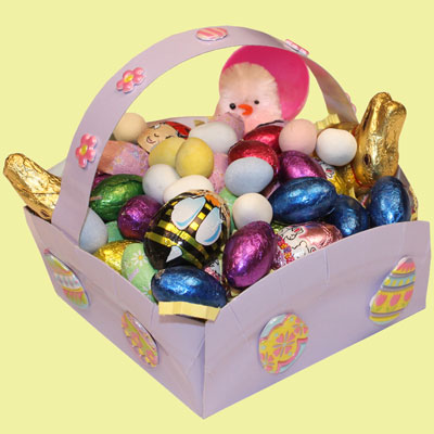 Easter basket made from a round plate