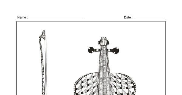 Violin - Zentangle Colouring Page - Animaplates