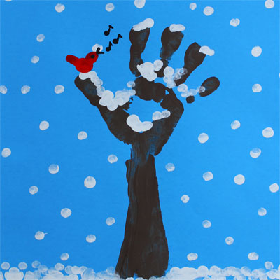 Finger paint: Winter Tree