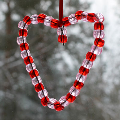 Heart made with beads
