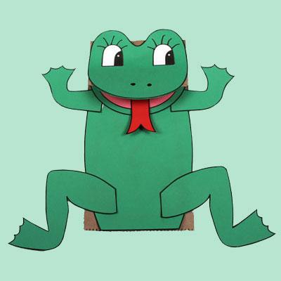 Paper Bag Frog Puppet