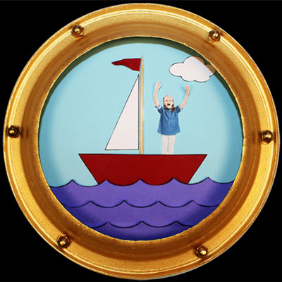 Porthole frame with a child's picture